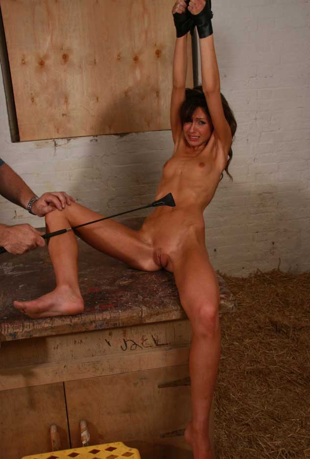 Pussy of anorexic girl spanked firm