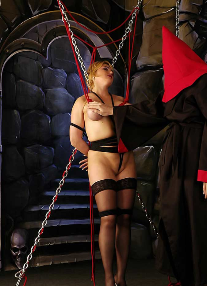 bondage in a raquet club dungeon