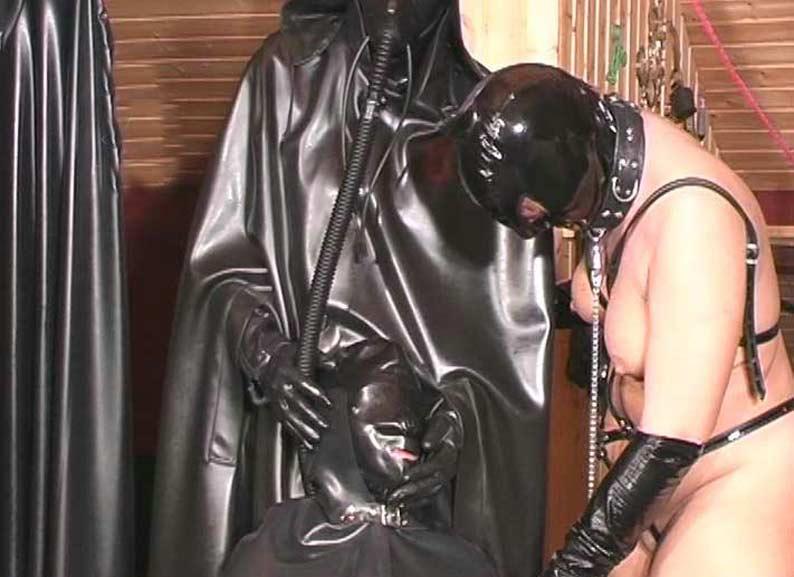 Wemon giving men enema bondage