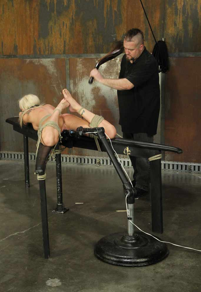 Blonde On Wooden Horse Free Bdsm Pics